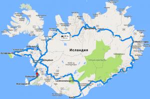 Карта маршрута по Исландии