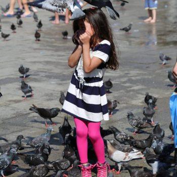 Девочка и голуби в Венеции