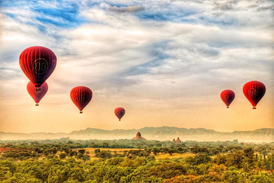 полёт на воздушном шаре в Мьянме